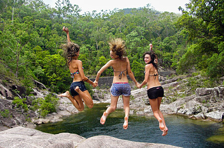 Behana Gorge - girls jumping for joy