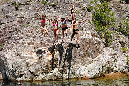 Jumping in at Behana Gorge