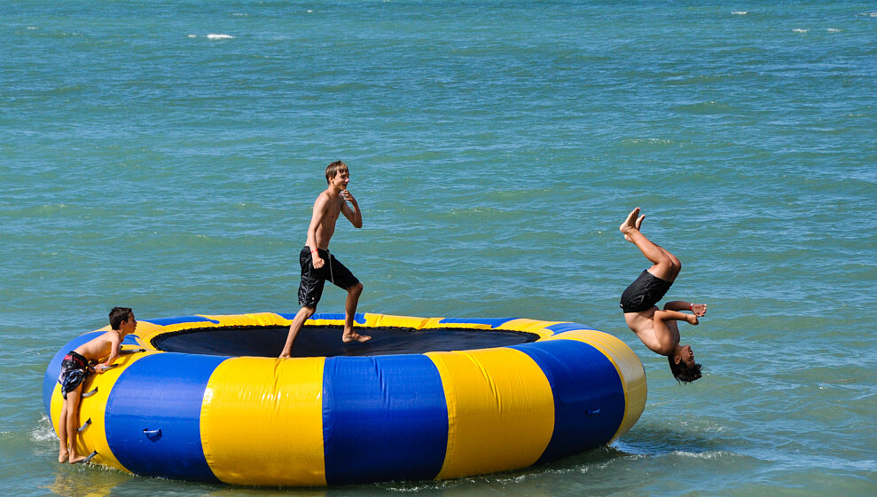 Floating trampoline from Trinity Beach Water Sports hire