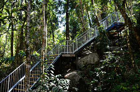 Steps down to Josephine Creek swimming hole below the falls