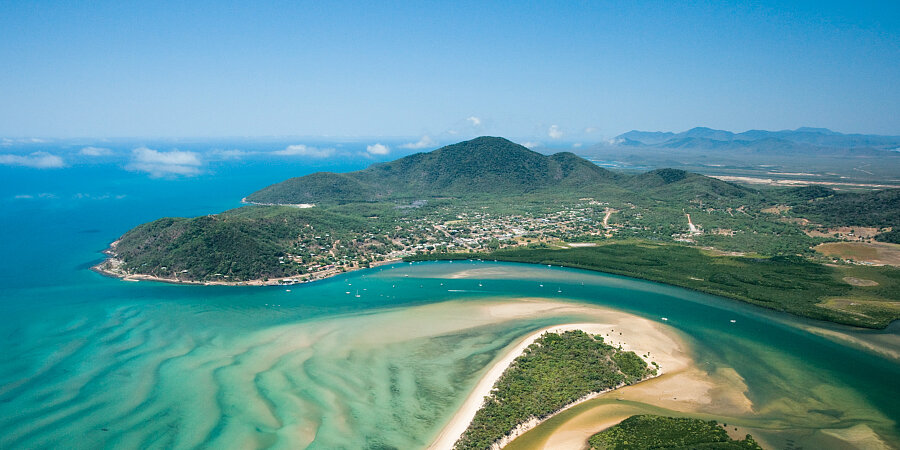 Aerial of Cooktown and the mouth of the Endeavour River