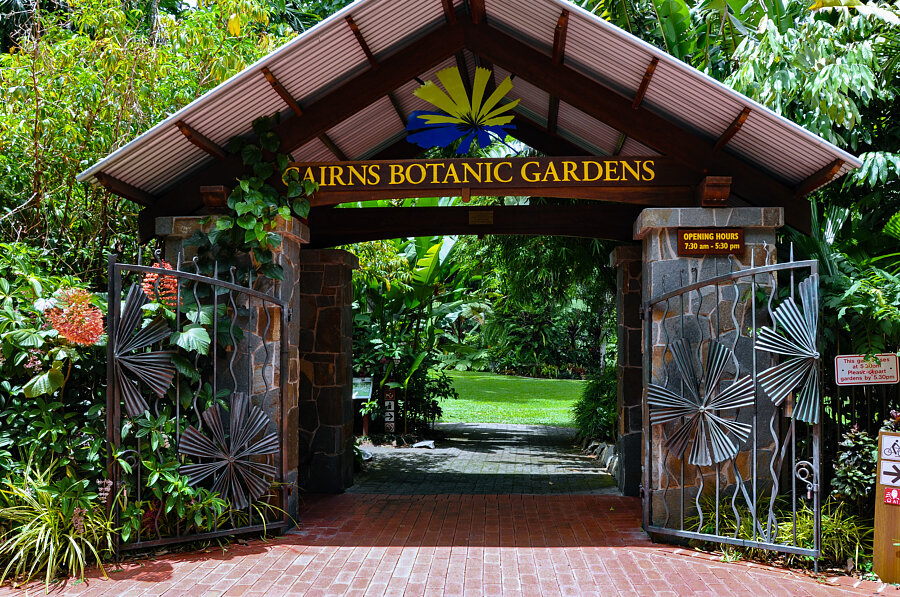 Cairns Flecker Botanical Gardens entrance on Collins Avenue