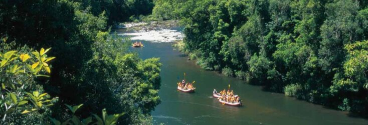 Tully River rafting through rainforest