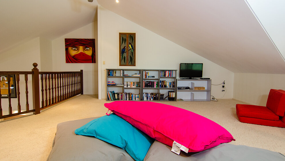 Mezzanine  - TV, videos, big, comfy cushions