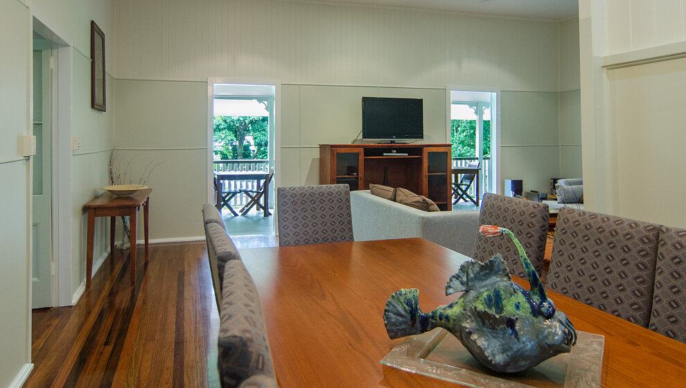 Upstairs dining table & living room