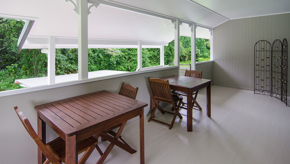 End of the verandah overlooking the side patio