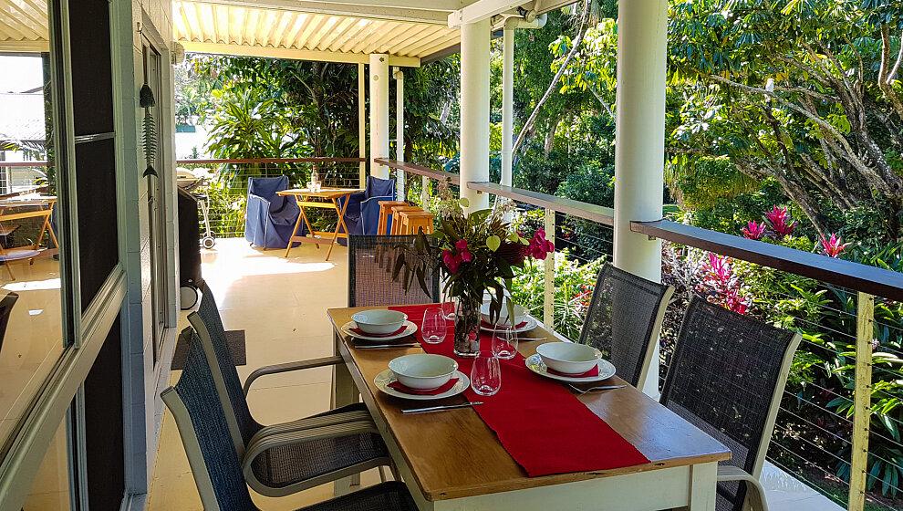 THe Beachie - the long verandah overlooks the garden