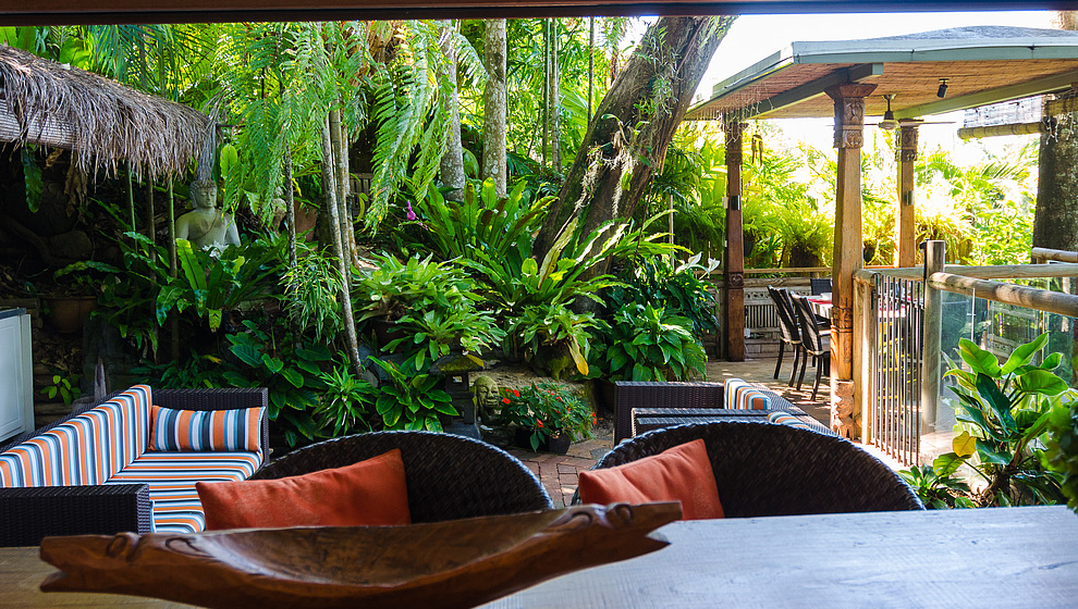 Touch of Bali - Patio from kitchen
