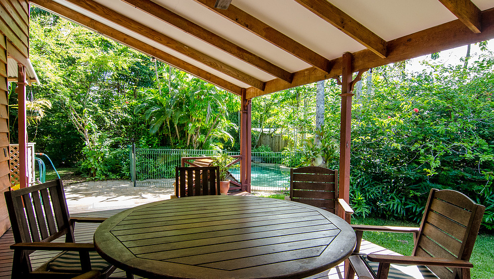 A big circular table for outdoor dining