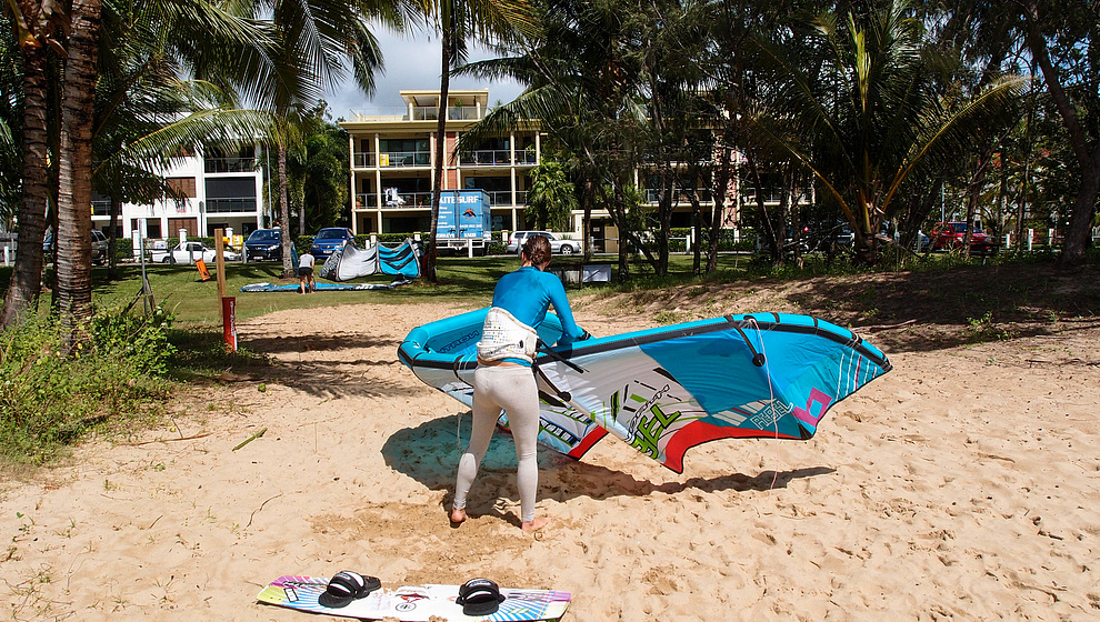 Kite-surfer getting ready
