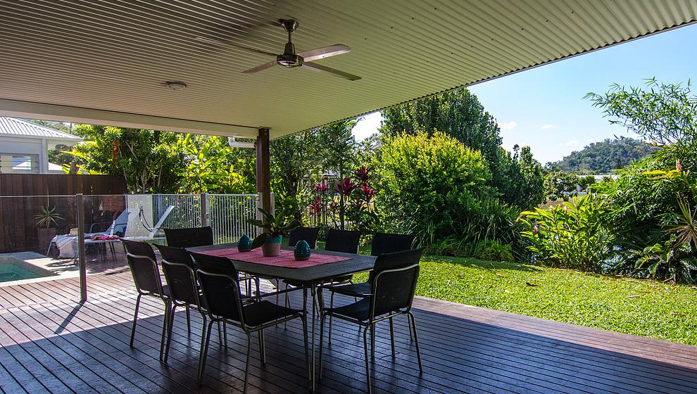 Covered pool patio at Bambusa