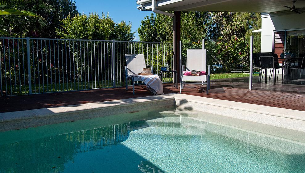 Bambusa swimming pool beside patio