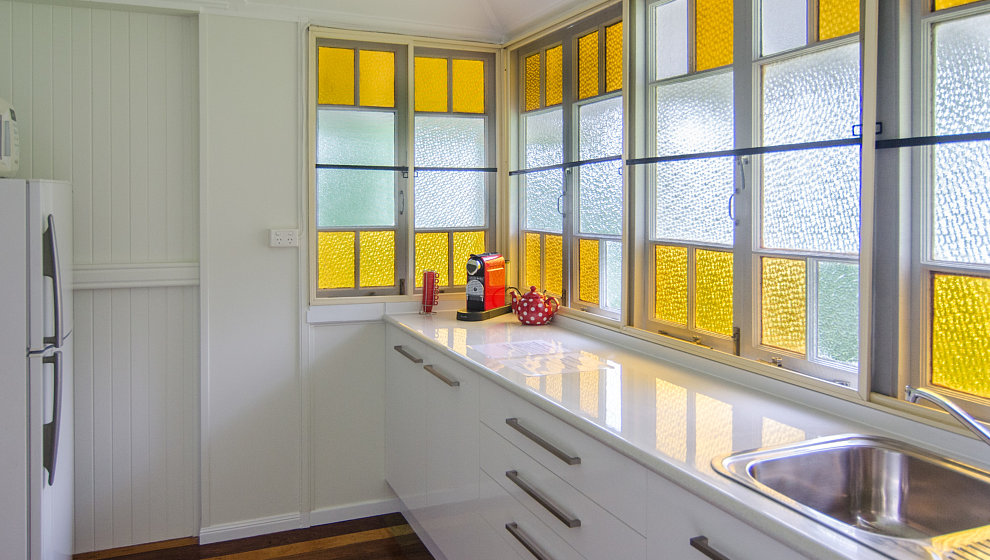 Upstairs kitchenette with large fridge